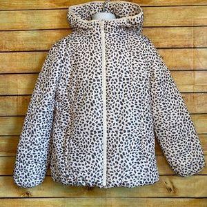 Gap Kids White/Black Cheetah Print Puffer Coat